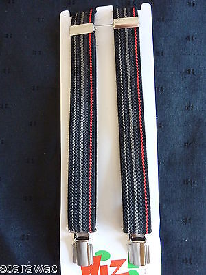 BRACES for BOYS/GIRLS/CHILDREN/KIDS -BLACK WITH COL. STRIPES- fit approx.1-6 yrs
