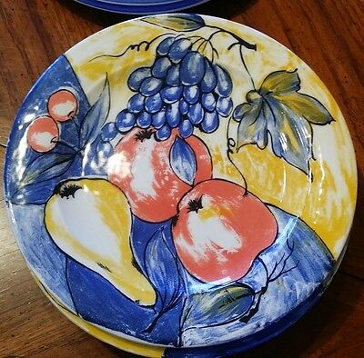 "Pier 1 ~ ""Per38""  Fruit Pattern  ~10 1/2"" Dinner Plate ~Discontinued~7 available"