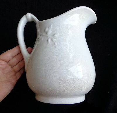 White Antique Ironstone Pitcher Jug Crazed and Stained- A Beauty from Ohio!