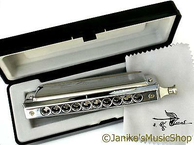 Professional chromatic swan slide harmonica in hard case mouth organ C tune new