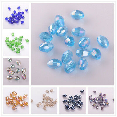 20pcs10X8mm Rugby Oval Faceted Crystal Glass Jewelry Making Findings Loose Beads