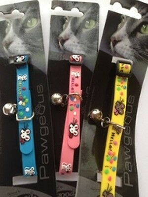 Designer Cat Collars With Bell And Id Tag Hand Engraved - Hello Mouse