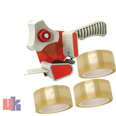 1 X HEAVY DUTY adjustable BOX PACKING TAPE GUN DISPENSER 50mm & 3 X CLEAR TAPE