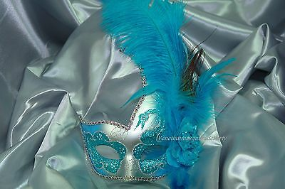 Masquerade Eyes Mask Ostrich feather flower Swan Venetian Costume Prom Party