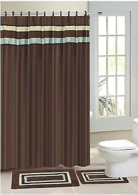 Chocolate Stripe Valance Print Fabric Shower Bathroom Curtain Set Hook New Style