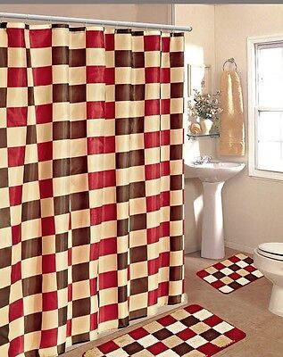 Burgundy Brown Checkers Modern Fabric Shower Bathroom Curtain Set Hook New