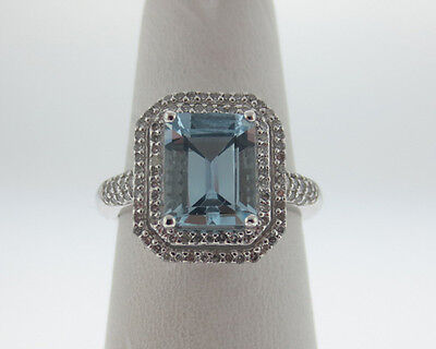 0d51bd56d39 2.50cts Natural Aquamarine Diamonds Solid 14k White Gold Cocktail Halo Ring