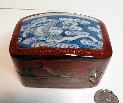 "Chinese Bat Lacquer Porcelain Shard Box Container 2 3/8"" tall Blue White China"