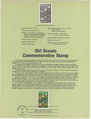 US 1987 FDC Souvenir page Girl Scouts 75th Anniversary with First Day cancel |