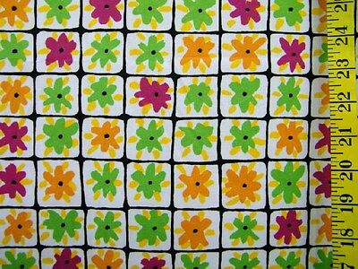 MULTI FLORAL SQUARES 3 WAY STRETCH POLYESTER  KNIT FABRIC BY THE 1/2 YARD