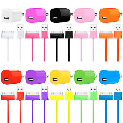 USB Data Sync Cable Charger + Wall AC Charger Adapter FOR iPhone 4 4S iPod LOT