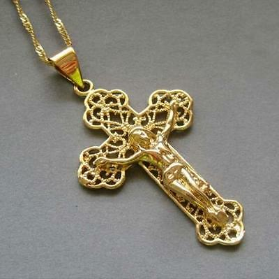 18K men Yellow Gold Filled Jesus Cross Pendant Chain Link Hollow carved Necklace