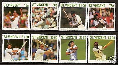 ST VINCENT 1988 CRICKETERS Lillee Botham Imran 8v MNH