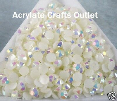 1000x 5mm ss20 Jelly White AB Flat Back Round Resin Rhinestones Craft Nail Gems