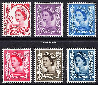 GB QEII Jersey 1958-69 Pre-Decimal Wilding Definitives Set of 6 Unmounted Mint