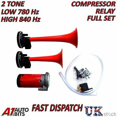 12v Twin Air Compressor Horn/Siren 2 Tone for Car Boat Car Truck Complete Kit
