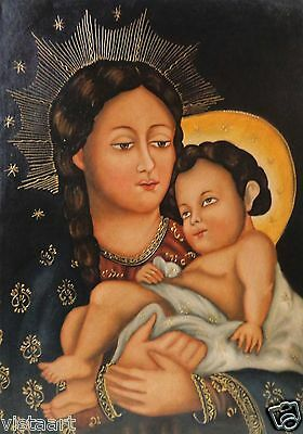 """Stretched Religious Peru Cuzco Oil Painting """"Mother Holding Child"""" 19 x 27"""""""