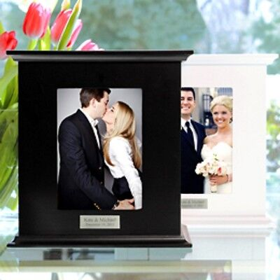 New Personalized Black or White Wood Card Holder Photo Box Any Event