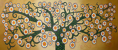 "canvas print Tree forest flower art Life painting Jane Crawford  28"" x 12"""