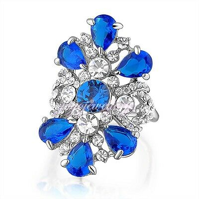 Big Blue Crystals Ring with White Crystals 18K White Gold Plated Women Gift R822