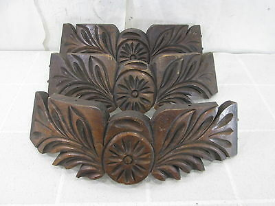 3 Vintage Salvaged Furniture Pieces- Rounded Front Center Flower for Projects
