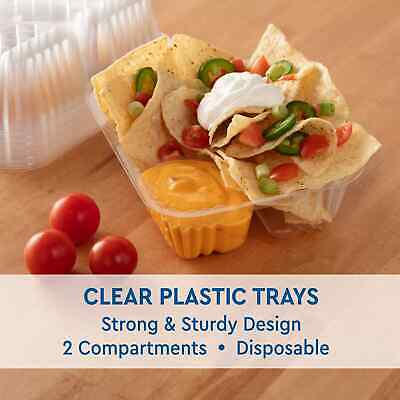 """NACHO TRAY CLEAR PLASTIC 20 oz TWO COMPARTMENT 5"""" x 6"""" ( 125 PER PACK ) USA MADE"""