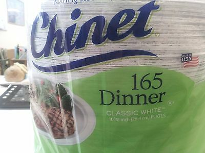 (165 Plates) Chinet 10 3/8  White Heavy Dinner Paper Plate Wedding & CHINET WHITE DINNER Plates Disposable Heavy Duty 10-3/8 in Paper ...