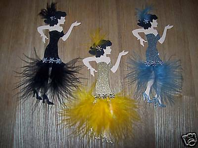 3 Gold,silver And Black Marabou Feather Flappers