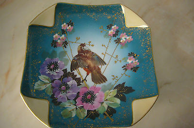 FRENCH ANTIQUE MAJOLICA  LIMOGES 1900' SQUARE  WALL PLATE WITH BIRD