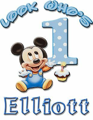 Personalize Custom Mickey Mouse 1st Birthday T Shirt Party Gift with Baby Name
