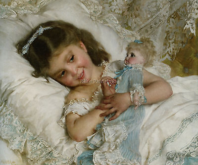 Emile Munier Girl And Doll Artist Painting Handmade Oil Canvas Repro Art Deco