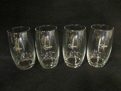 Northwest Airlines FOUR First Class HiBall Wine Glasses w/ NWA logo