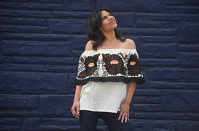 6efbb0ffef0 Mexican Off Shoulder Peasant Top Blouse  Tunic Embroidered Black Orang  Flowers L