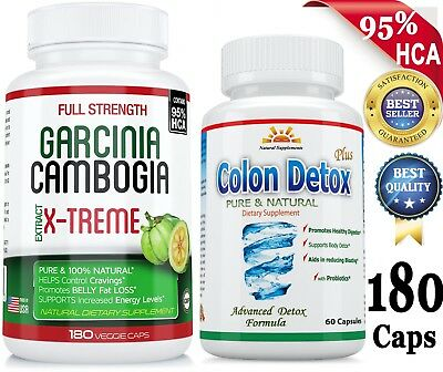 Potent 80% HCA 180 GARCINIA CAMBOGIA+COLON DETOX/Cleanse Weight Loss/Digestion