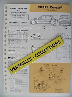 Fiche technique automobile carrosserie OPEL CORSA 5 portes - 2 volumes