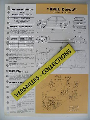 Fiche technique automobile carrosserie OPEL CORSA 3 portes - 2 volumes