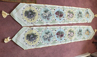 Collectible Tapestry Table Linen Set 2 Off White Plums Greens Yellow Tassles WOW