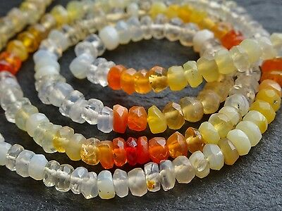 """HAND FACETED MEXICAN FIRE OPAL RONDELLES, approx 3.5mm, 14"""", 150+ beads"""