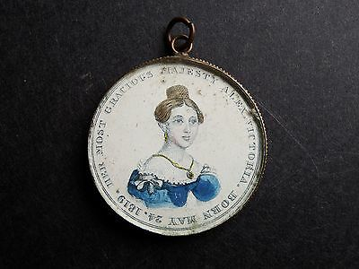 Rare Queen Victoria Coronation Charm Pendant Hand Tinted Portraits Gilt Frame