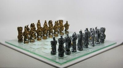 Chess Set Pieces And Glass Board King Arthur Camelot Kingdom Figurine Statue