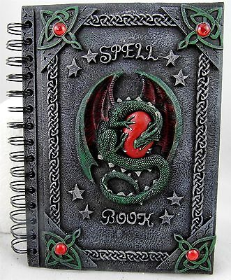 Dragon SPELL BOOK spiral bound 50 leaves  resin cover sketch book shadows, diary