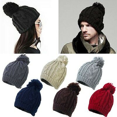 Ladies Mens Winter Warm Ski Cable Wool Knit Knitted Bobble Pom Beanie Cap Hat