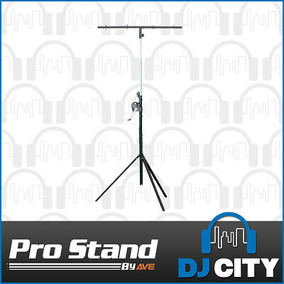 Professional 2 metre Winch Up litghting stand with T-Bar - DJ City Australia