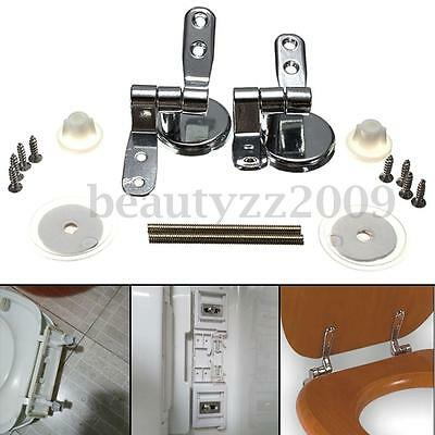 A Pair Replacement Closestool Toilet Seat Mountings Chrome Hinges With Fittings