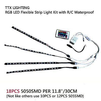 4 x 11.8'' RGB Waterproof LED Flexible Light Strip 7 Colors with Remote Control