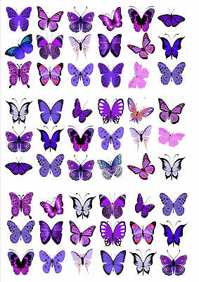 54 X Purple Violet Mix Butterflies Birthday Wedding Edible Cupcake Toppers  M26