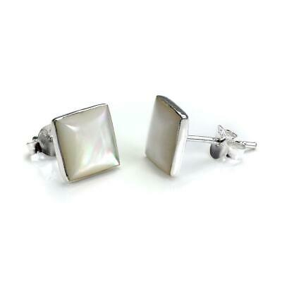 Square 925 Sterling Silver & Mother of Pearl Stud Earrings / Studs / Earring