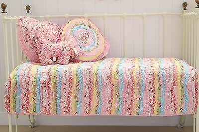 Millie Frill Shabby Chic Baby Girls Nursery Cotton Cot Crib Quilt