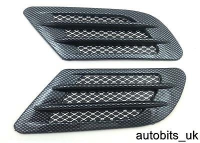 2 Side Wing Air Flow Intake Vent Trim Fender Grill Universal Black Carbon NEW