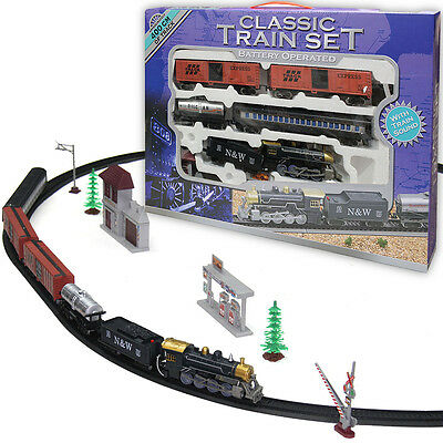 LARGE BATTERY OPERATED CLASSIC RETRO TRAIN SET COLLECTABLES TRAINS 400cm TRACK